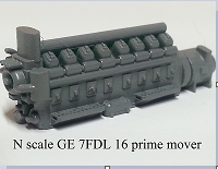 N scale GE 7FDL 16 prime mover